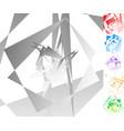 edgy angular geometric art in 6 colors vector image