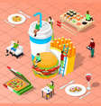 fast food isometric composition vector image vector image