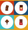 flat icon bitter set of delicious chocolate bar vector image vector image