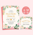 floral wedding invitation elegant thank you card vector image