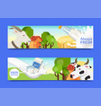 fresh dairy products concept set banners vector image