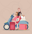 girls mom and kids riding scooter bring bag vector image vector image