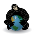 Gorilla and world crisis ecology or policy vector image