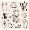 Hand Drawn Set Coffee vector image vector image