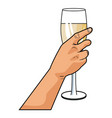hand with champagne cup pop art vector image vector image