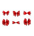 holiday satin gift bow knot ribbon red vector image vector image