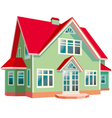 house with red roon white background vector image