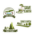 icons set for save earth ecology protection vector image vector image