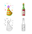 isolated object of party and birthday logo vector image vector image