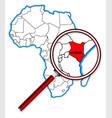kenya under a magnifying glass vector image vector image
