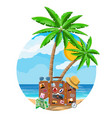 leather retro bag with stickers on beach vector image vector image