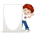 Little boy holding blank sign vector image vector image