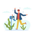 man got letter happy guy near mailbox vector image