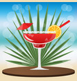 margarita cocktail strawberry cocktail on wooden vector image