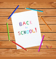 notebook sheet with back to school inscription vector image