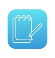 Notepad with pencil line icon vector image vector image