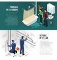 plumber pipeline repair banners vector image vector image