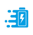 quick and fast battery charging icon with thunder vector image vector image