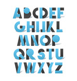 Retro font in blue and grey Blue alphabet with vector image vector image