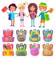 schoolchildren with bags and books stand and smile vector image vector image
