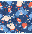 seamless pattern with dogs heads vibrant colors vector image