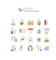 set flat line icons wine vector image vector image