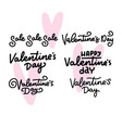 set of calligraphic quotes for happy valentine s vector image vector image