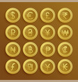 set of dolden currency icons and symbols vector image