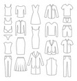 set woman and man clothes icons vector image