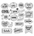 stickers quotes and sound blasts vector image vector image