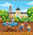 students playinf at school playground vector image