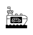 vehicle carrier ship black linear icon vector image