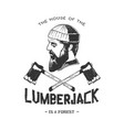 vintage badge with lumberjack vector image vector image