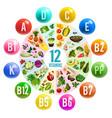vitamin pill circle chart banner with healthy food vector image