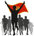 Winner with the Montenegro flag at the finish vector image vector image