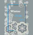 winter sale vertical banner with light gray vector image