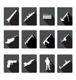 Icons set of black and white silhouettes of armed vector image