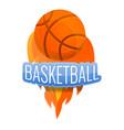 basketball fire ball logo cartoon style vector image vector image