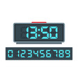 blue digital clock and set of glowing numbers vector image vector image