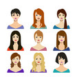 cartoon woman trendy hairstyles icons set vector image vector image