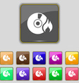 CD icon sign Set with eleven colored buttons for vector image vector image