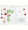 Christmas Card with themed interior vector image