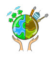 collection bad environment world doodle vector image vector image
