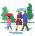 daughter dad and mom walking in park vector image vector image