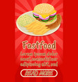 fastfood concept banner comics isometric style vector image