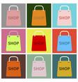 flat icons set basket shop vector image