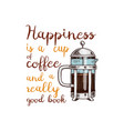 french press or kitchen cooking stuff for menu vector image vector image