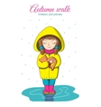 Girl and kitten in the rain vector image