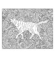 hand drawn dog against floral pattern vector image vector image