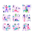 home fitness flat set vector image